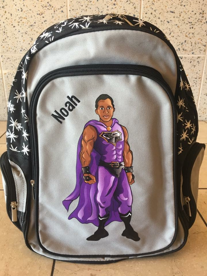 Customized Black Superhero Backpack
