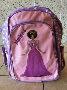 Customized Black Princess Backpack and Lunchbox Combo