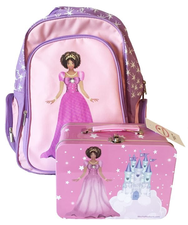 Black Princess Backpack and Lunchbox Combo