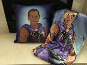 Plush Black Superhero Throw and Pillow Combo