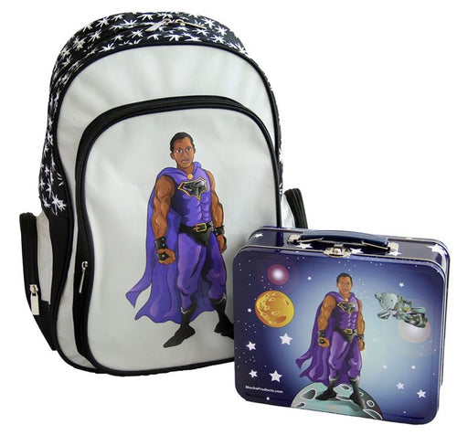 Customized Black Superhero Backpack and Lunchbox Combo