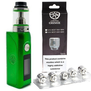 Asmodus Colossal GREEN 80W Mod with Ohmie Tank & 1-Pack of Replacement Coils