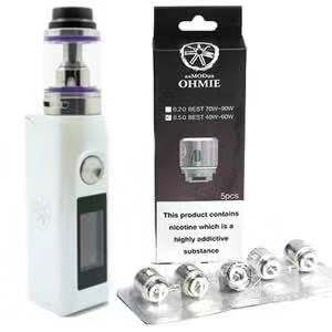 Asmodus Colossal WHITE 80W Mod with Ohmie Tank & 1-Pack of Replacement Coils