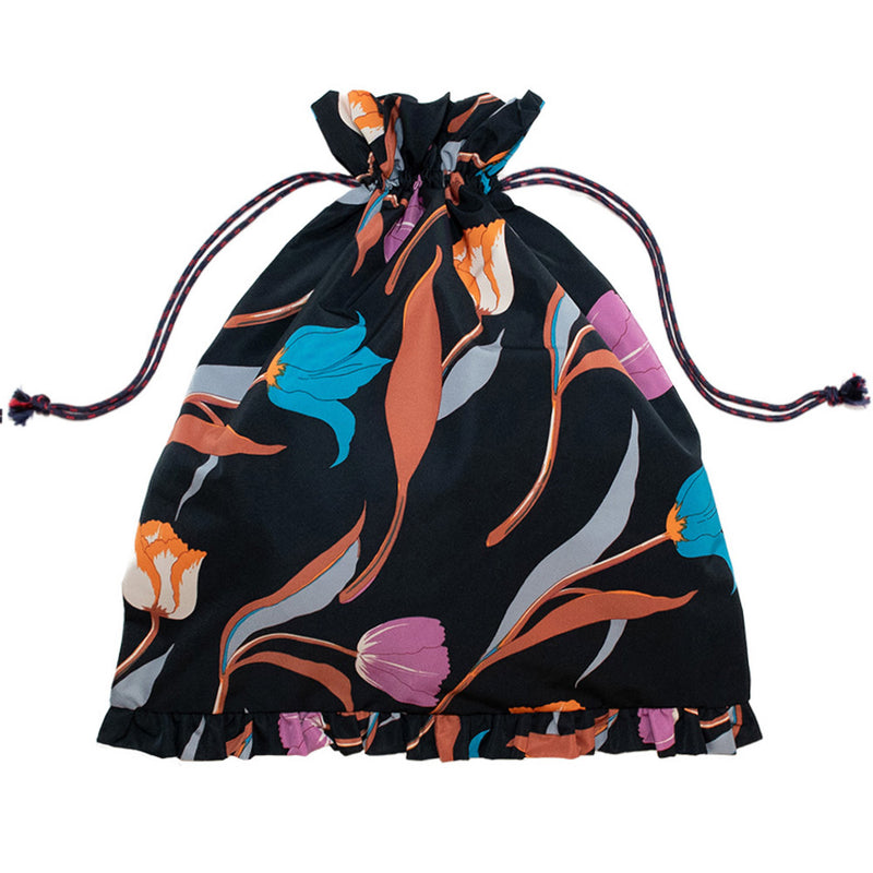3 Tulips Drawstring Bag Black