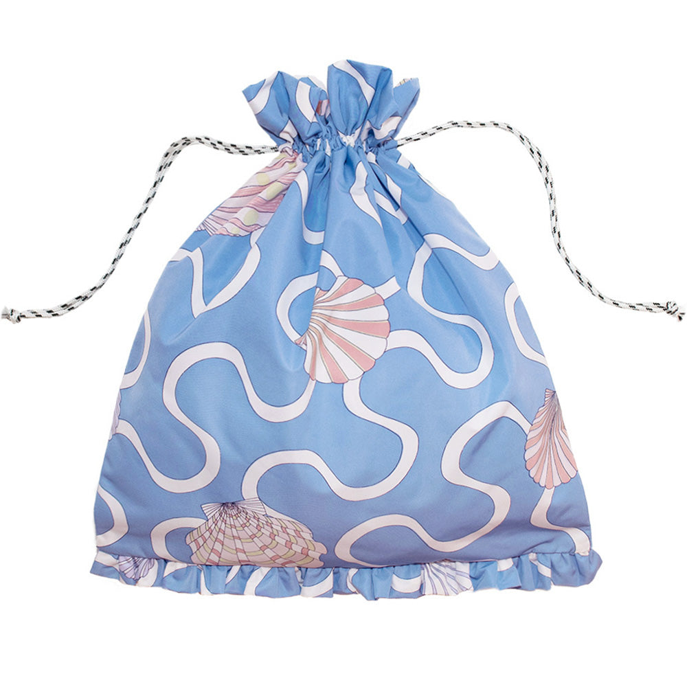 Shell Drawstring Bag Aqua