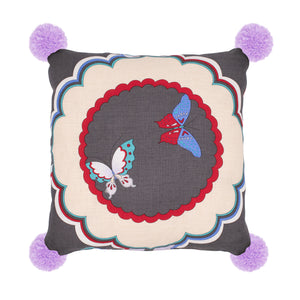 Butterfly Cushion-S Double Face Charcoal