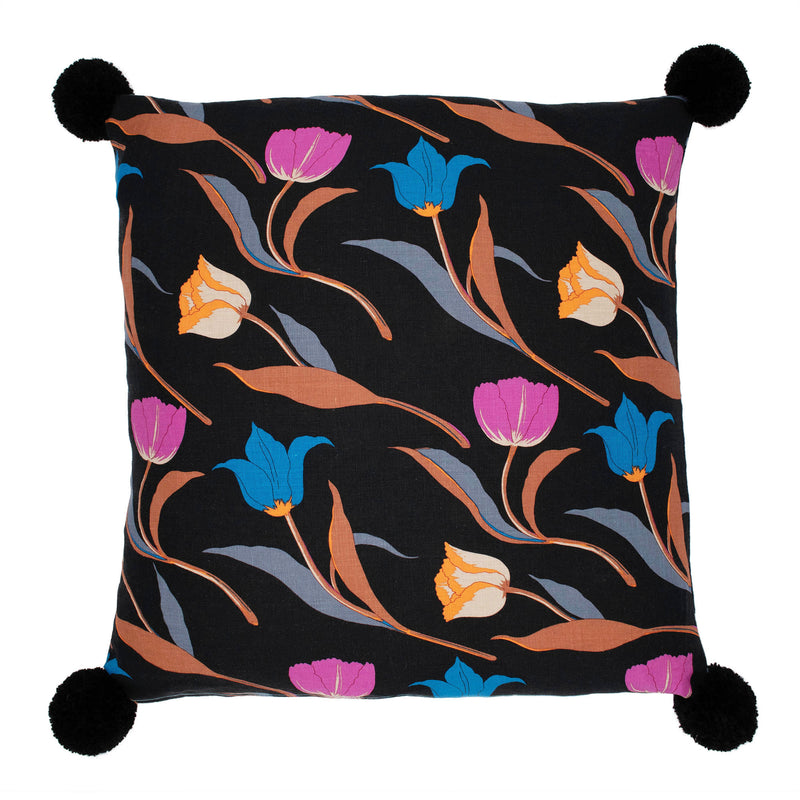 3 Tulips Cushion  Cover Black
