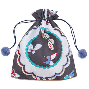 Butterfly Linen Drawstring Bag Charcoal