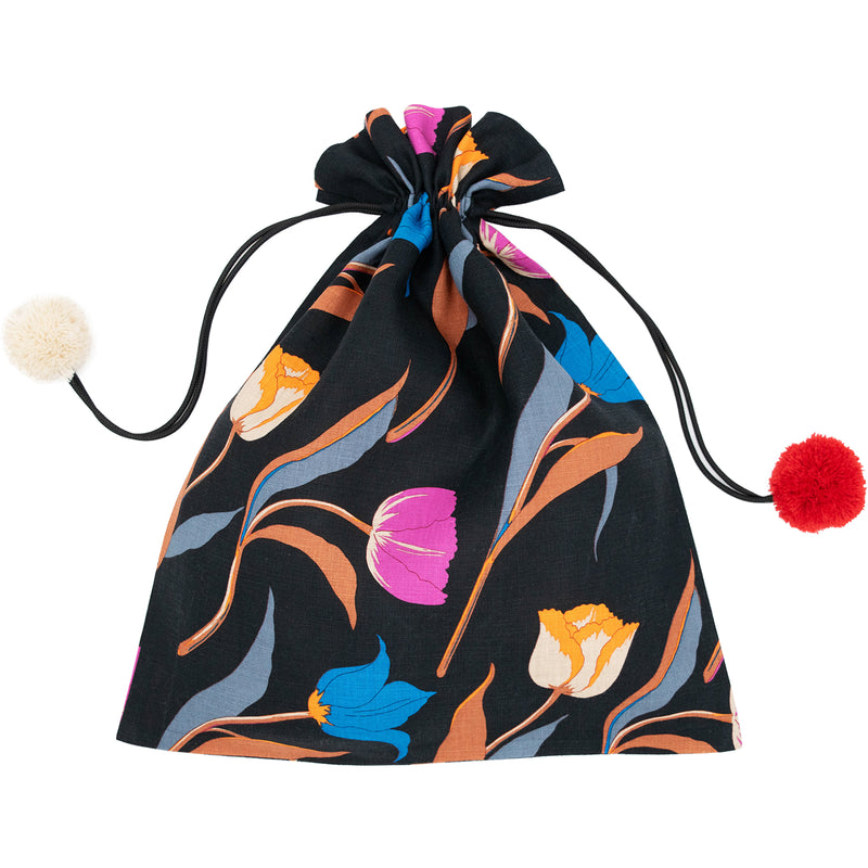 3 Tulips Linen Drawstring Bag Black
