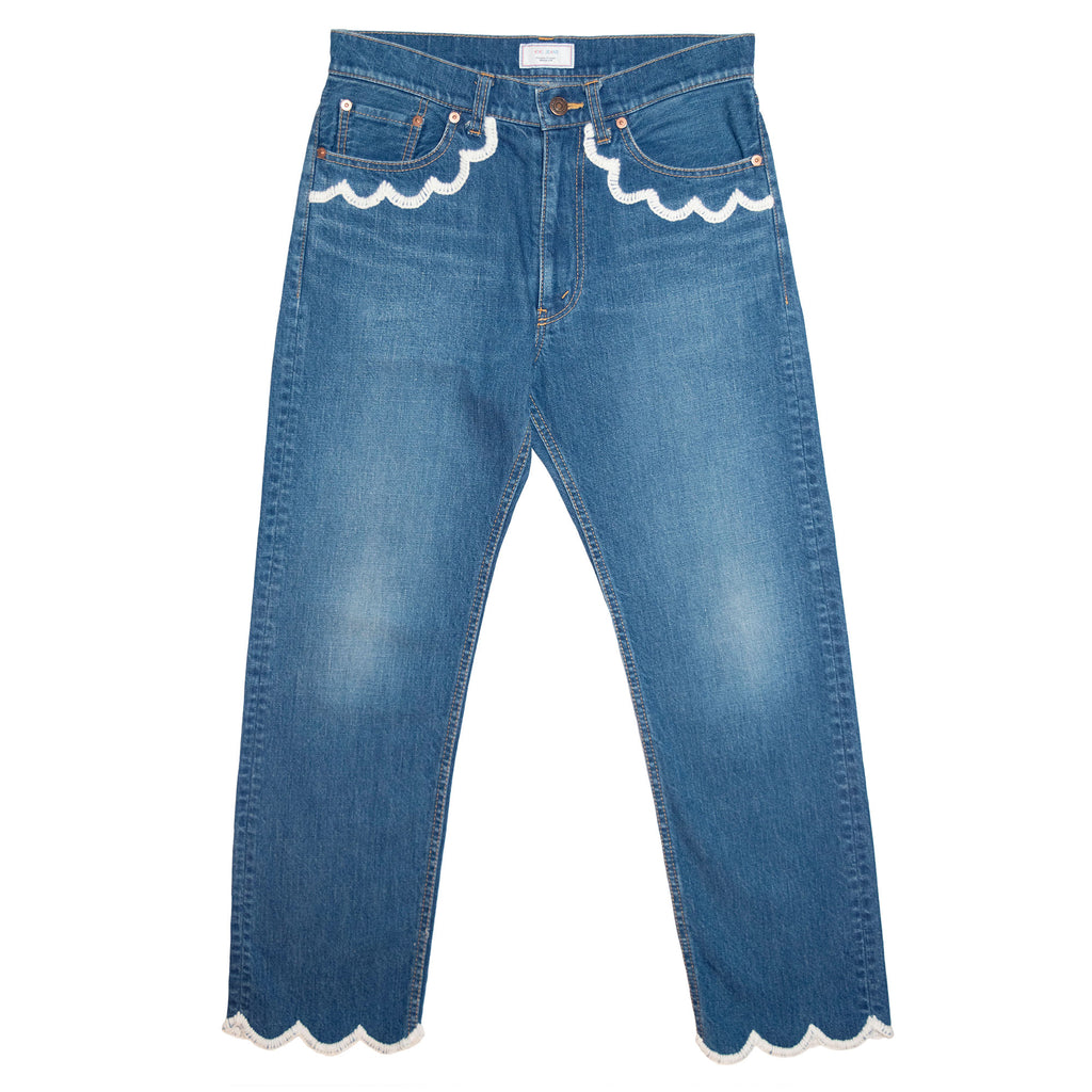 015 Embroidery Used Washed Denim Tight Straight Pants