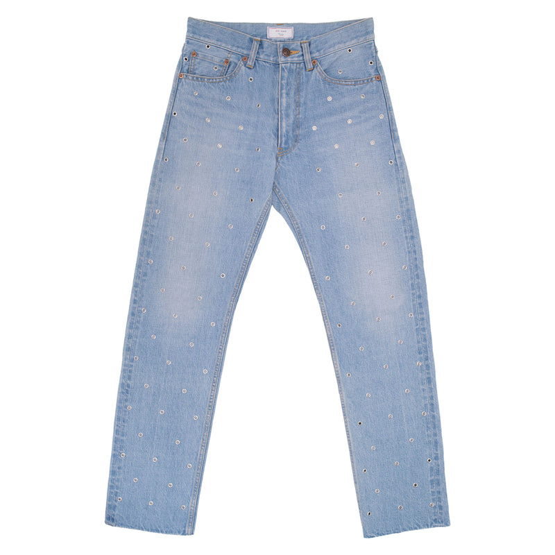 015 Studs Selvedge Washed Denim Tight Straight Pants