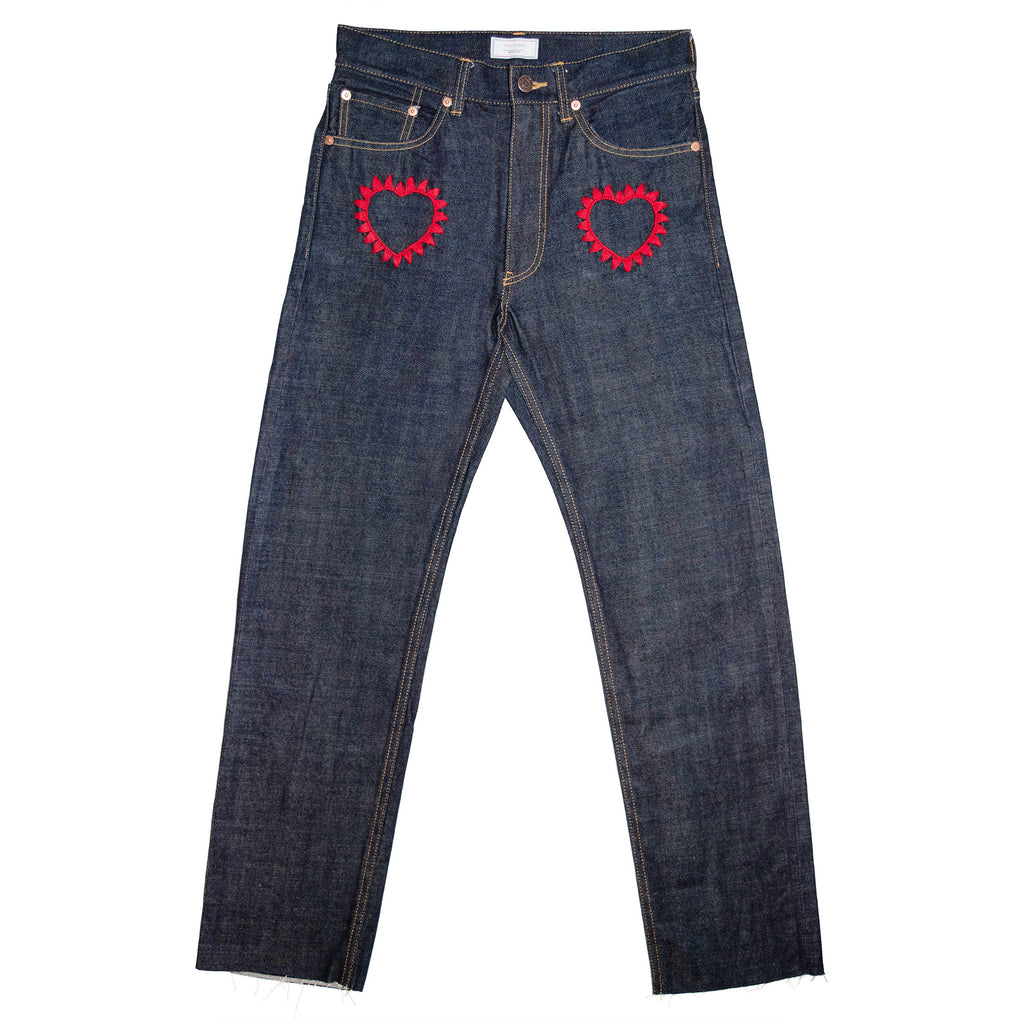 015 Embroidery Selvedge Rigid Denim Tight Straight Pants