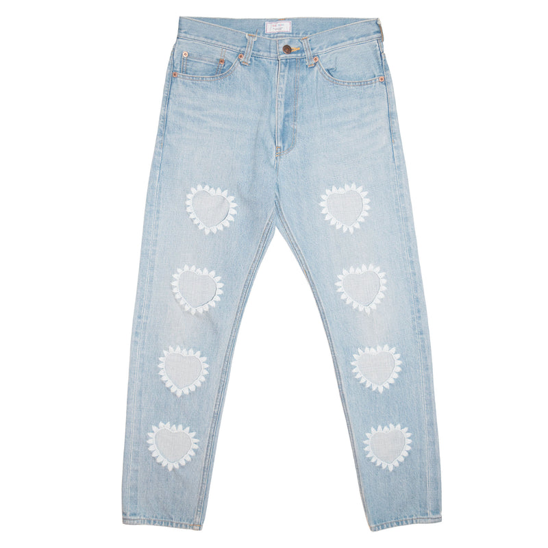 016 Embroidery Selvedge Washed Denim Tapered Slim Pants