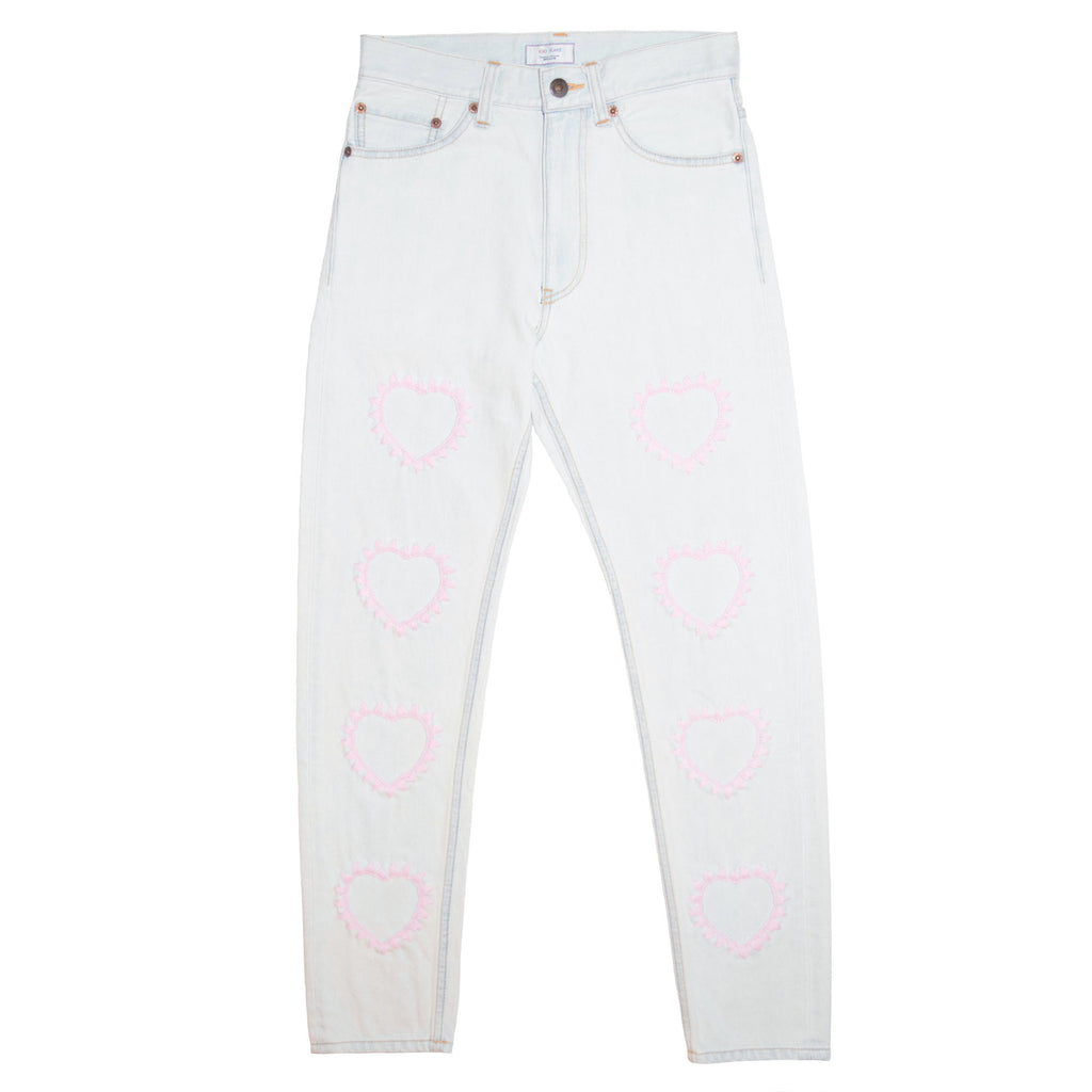016 Embroidery Bleach Denim Tapered Slim Pants