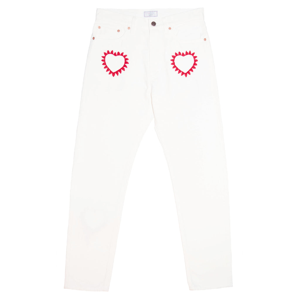 016 Embroidery White Denim Tapered Slim Pants