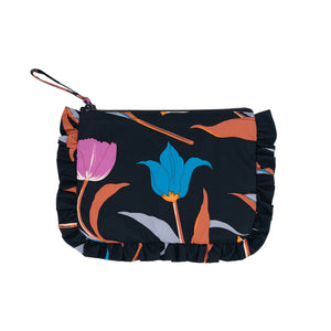 3 Tulips Frill Cosmetic Bag Black