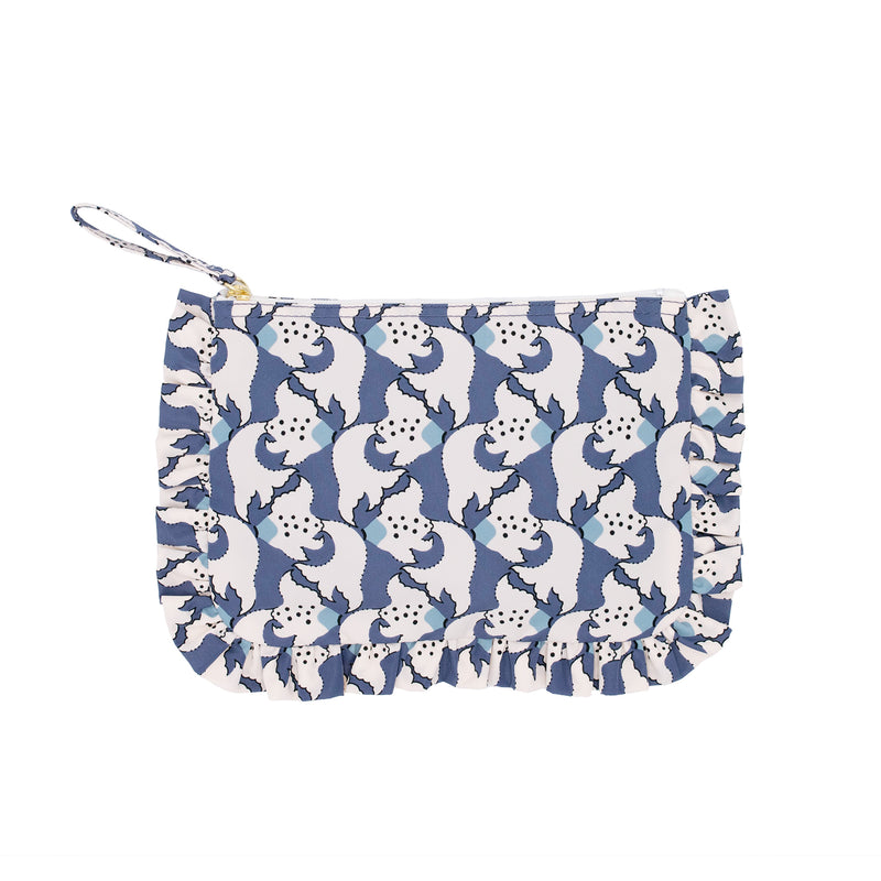 Kingyo Frill Cosmetic Bag Orient Blue