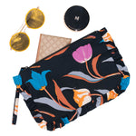 3 Tulips Frill Cosmetic Bag M Black