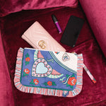 Romeo+Juliet Frill Cosmetic Bag M Navy/Pink
