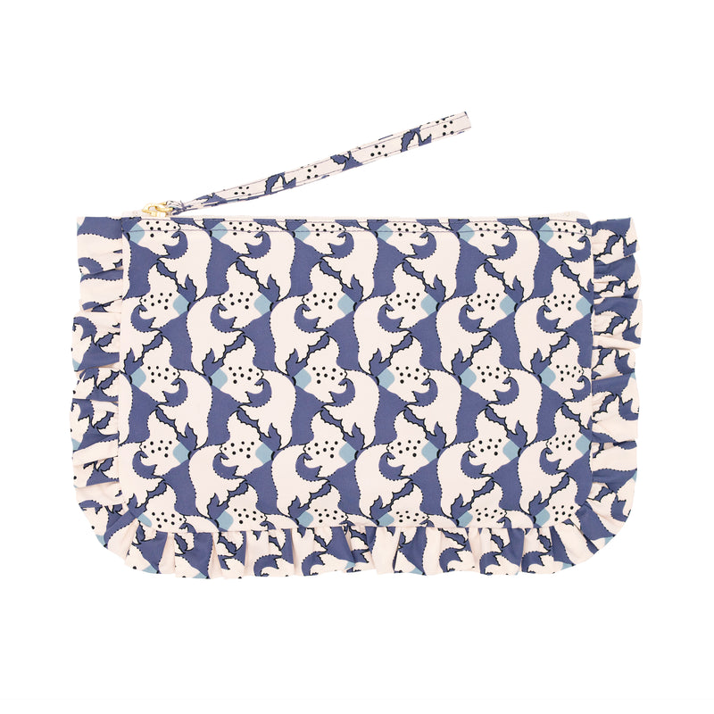 Kingyo Frill Cosmetic Bag M Orient Blue