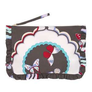 Butterfly Frill Cosmetic Bag L Charcoal