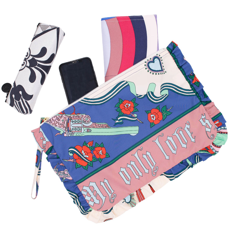 Romeo+Juliet Frill Cosmetic Bag L Navy/Pink