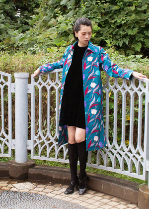 Elizabeth Rain Coat 3 Tulips Green