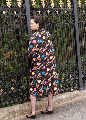 Elizabeth Rain Coat 3 Tulips Black