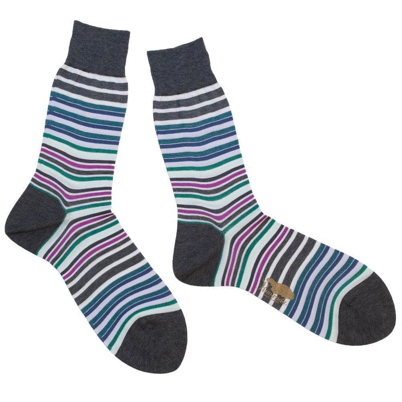 Sunshine Border Mens Socks-LEGWEAR-kiwandakiwanda-Light Gray/Saxe-kiwandakiwanda