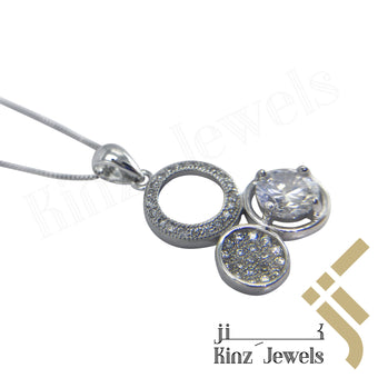 kinzjewels - Sterling Silver Three Circles Cubic Zircon Necklace