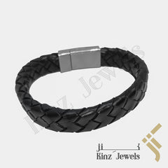kinzjewels - Personalized Black Braided High Quality Stainless Steel Italian Leather Bracelet