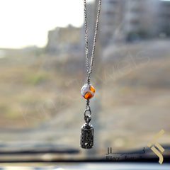 kinzjewels - Kinz Silver Car Mirror Hanging or Keychain Dzi Agate Protective Capsule - The Throne Verse