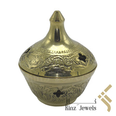kinzjewels - Personalized Solid Brass Indian Incense Burner