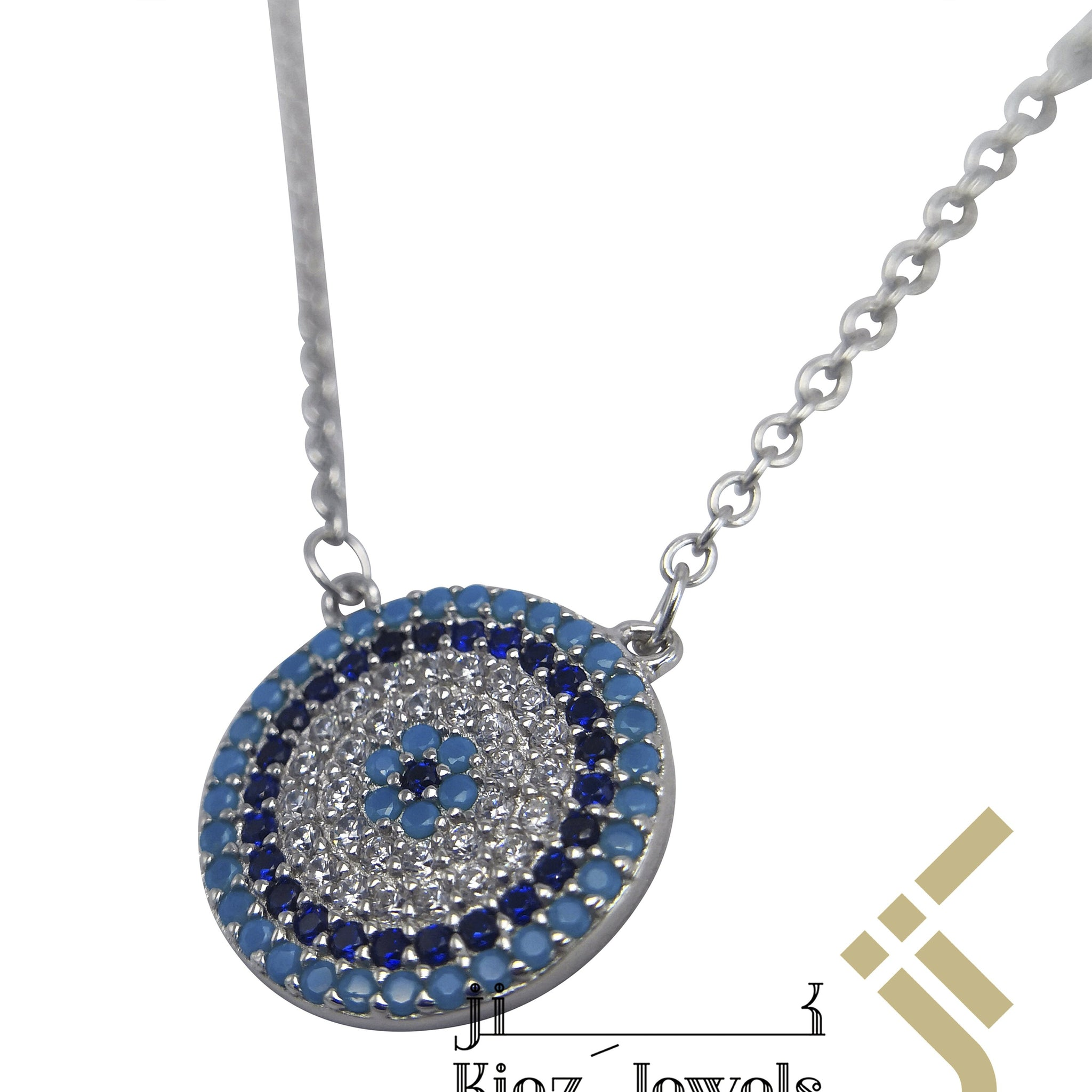 kinzjewels - Sterling Silver Blue Evil Eye Zircon Turquoise, Navy, White Necklace