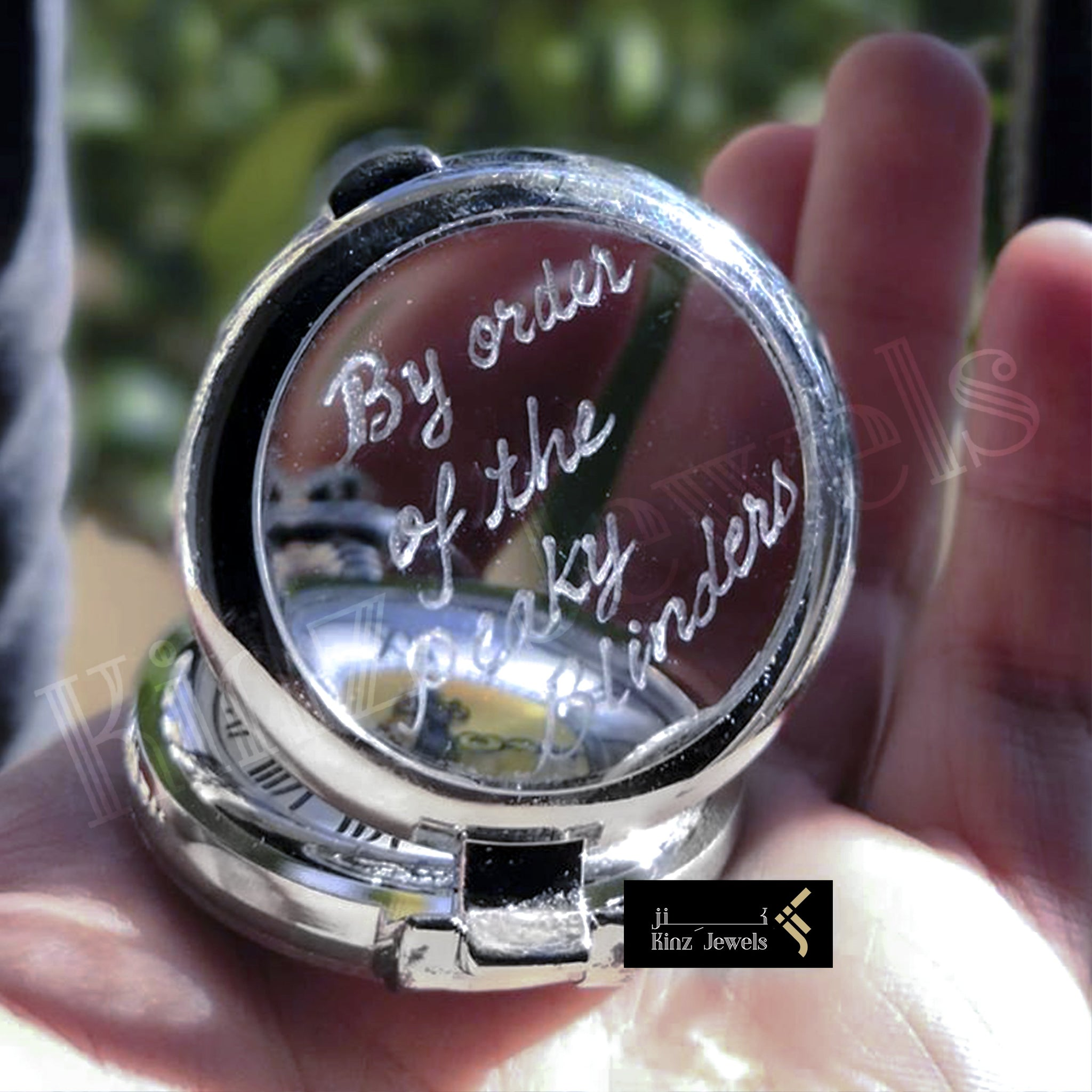 kinzjewels - Personalized Silver and Chrome Magnifier Pocket Watch