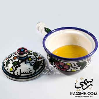 kinzjewels - Rassme - Handmade High Quality Palestinian Floral Ceramic Honey Bowl