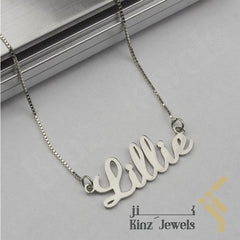 kinzjewels - Kinz High Quality Sterling Silver Pendant Custom Name Pendant Rhodium Vermeil - Arabic or English