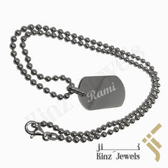kinzjewels - Personalized Silver Tag Pendant with Chain