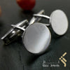 kinzjewels - Personalized Sterling Silver Italian Cufflinks Round - Arabic or English