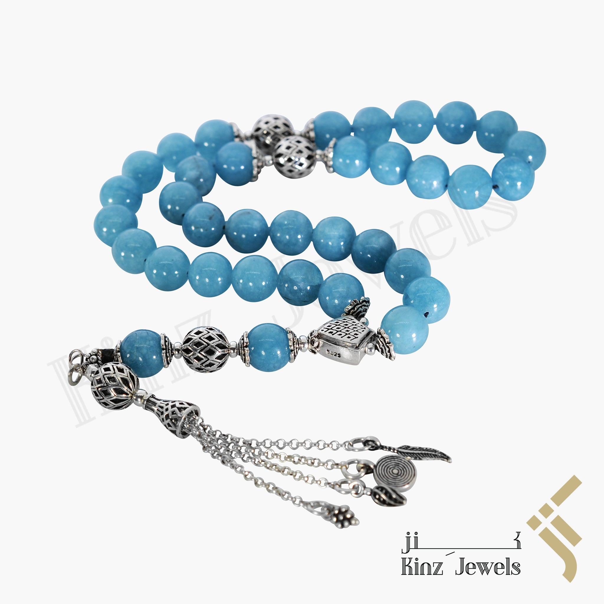 kinzjewels - Kinz Silver Angle Blue Agate Prayer Beads