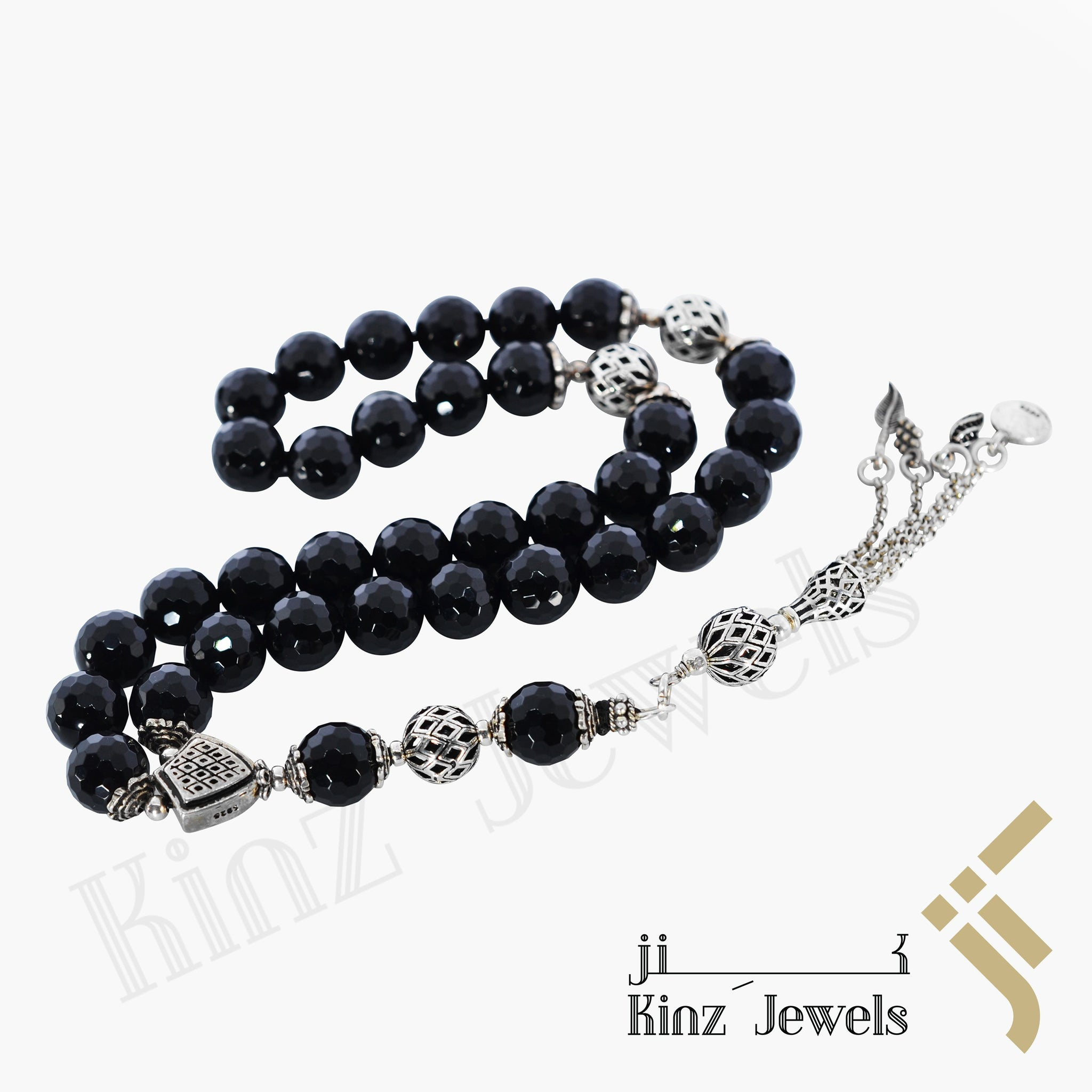 kinzjewels - Kinz Silver Prayer Beads Laser Cut Onyx