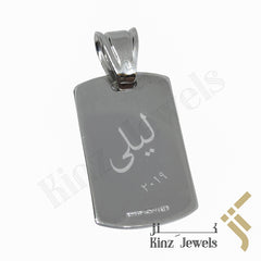 kinzjewels - Personalized Silver Tag Pendant Fancy Rhodium Vermeil