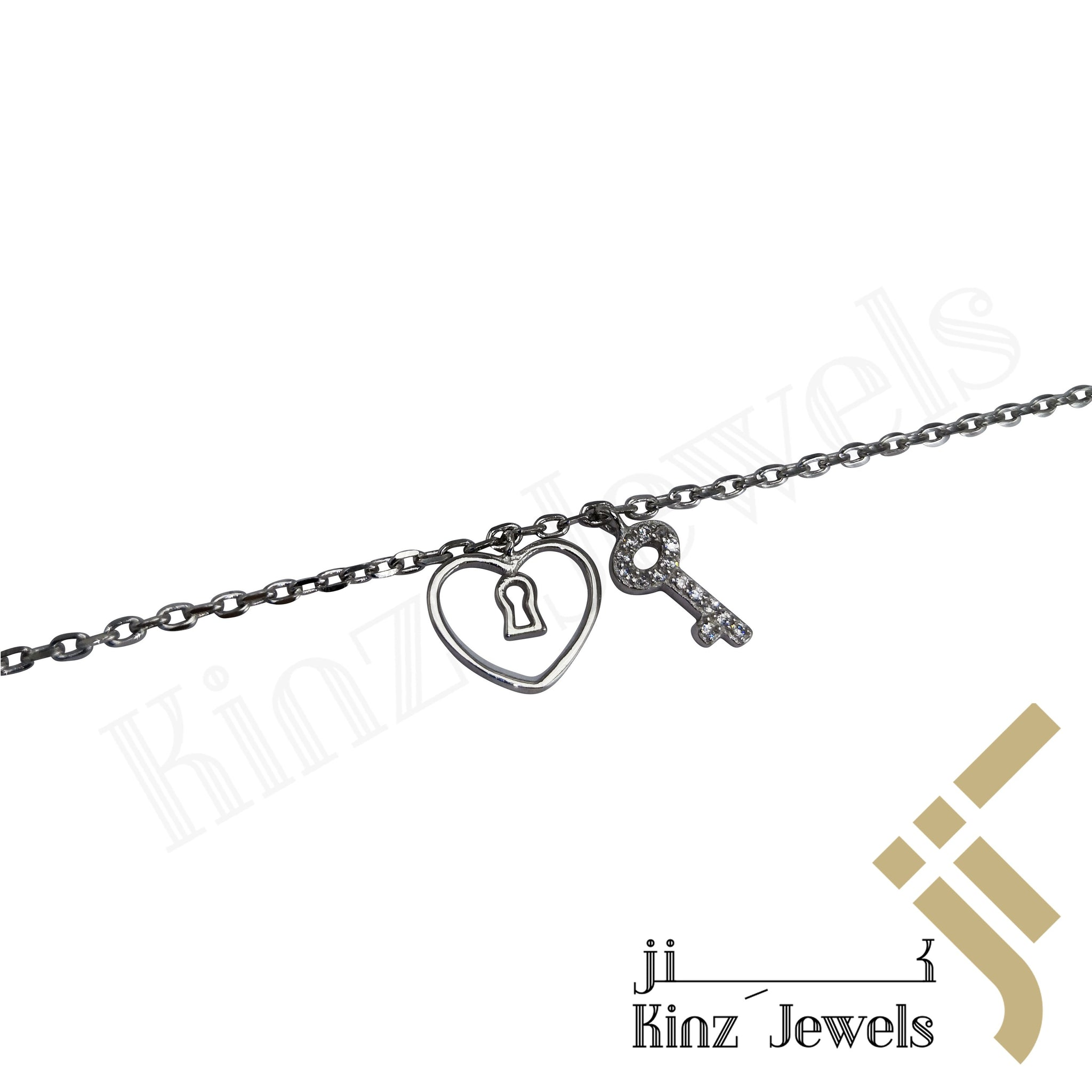 kinzjewels - Sterling Silver Heart Lock & Key Bracelet