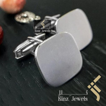 kinzjewels - Personalized Sterling Silver Italian Cufflinks Square - Arabic or English