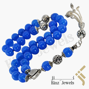 kinzjewels - Kinz Silver Blue Agate Prayer Beads