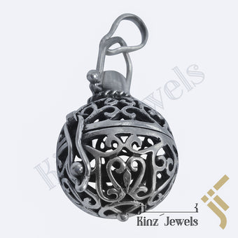 kinzjewels - Sterling Silver Antique Locket Ball Pendant