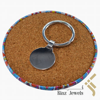 kinzjewels - Personalized Round Sterling Silver Keychain