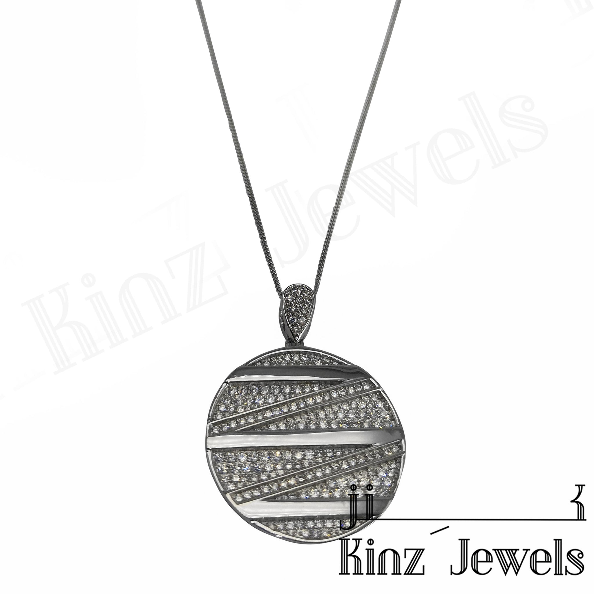 kinzjewels - Sterling Silver Zigzag Cubic Zirconia Necklace
