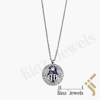 kinzjewels - Sterling Silver Colorful Hamsa Necklace