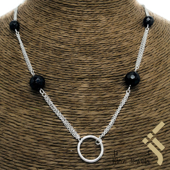 kinzjewels - Sterling Silver Dark Blue Goldenstone Stones Connected Necklace